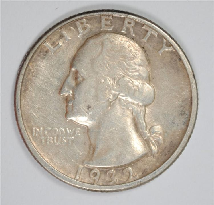 1932-D WASHINGTON QUARTER, XF  KEY DATE