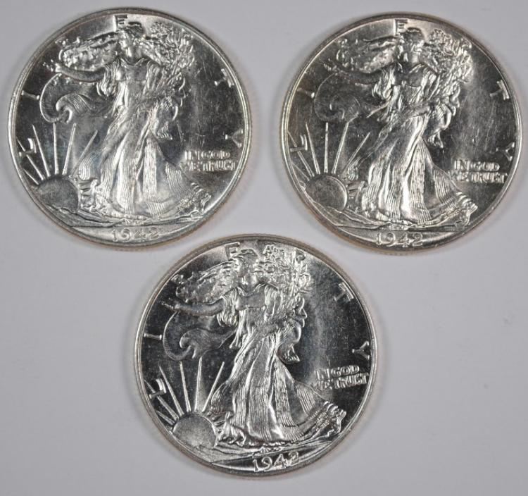 ( 3 ) 1942 WALKING LIBERTY HALF DOLLARS, CHOICE BU