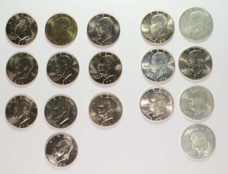 4-1971 & 3-1976 SILVER EISENHOWER DOLLARS &  ( 10  )  CLAD  IKE DOLLAR 1974-78