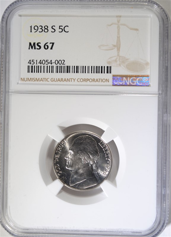 1938-S JEFFERSON NICKEL, NGC MS-67 FIRST YEAR! NGC PRICE GUIDE=$380.00