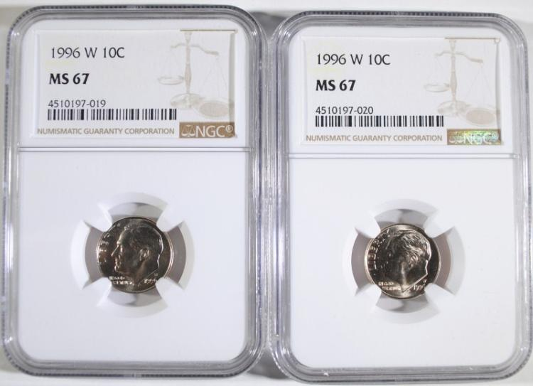 ( 2 ) 1996-W ROOSEVELT DIMES, NGC MS-67 BETTER DATE