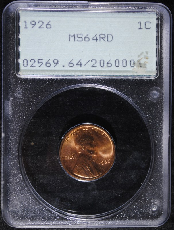 1926 LINCOLN CENT, PCGS MS-64 RED
