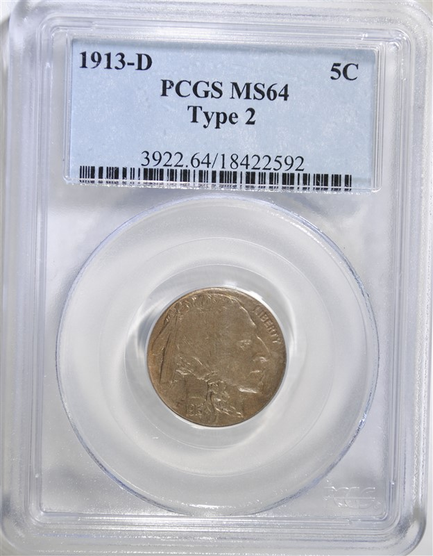 1913-D TYPE-2 BUFFALO NICKEL, PCGS MS-64  KEY COIN