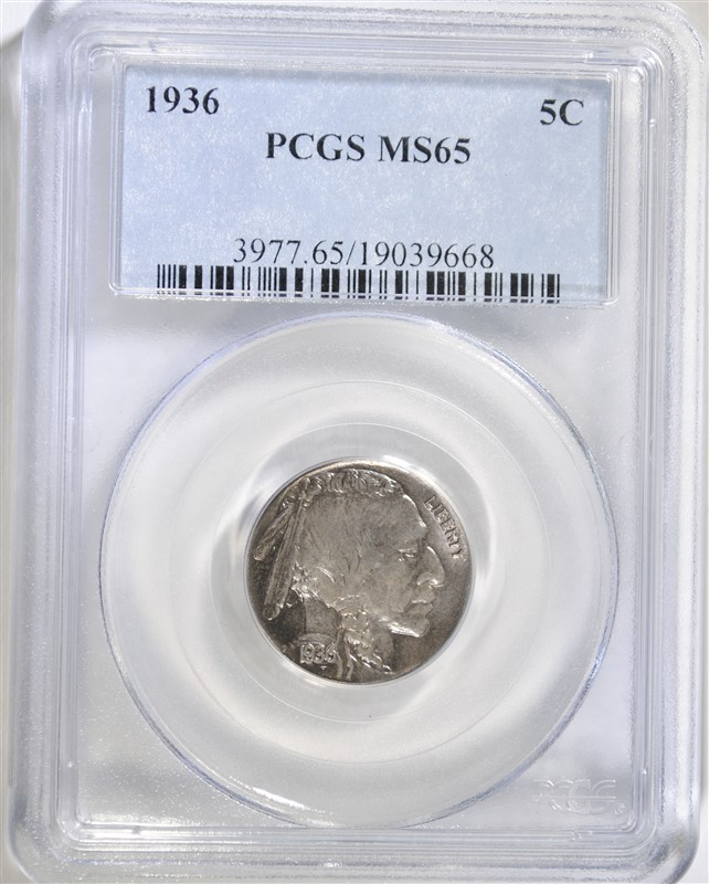 1936 BUFFALO NICKEL, PCGS MS-65