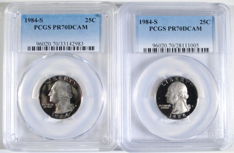 ( 2 ) 1984-S WASHINGTON QUARTERS, PCGS PR-70 DCAM