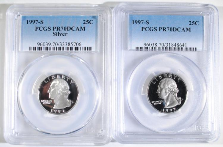 1997-S SILVER & CLAD WASHINGTON QUARTERS, PCGS PR-70 DCAM