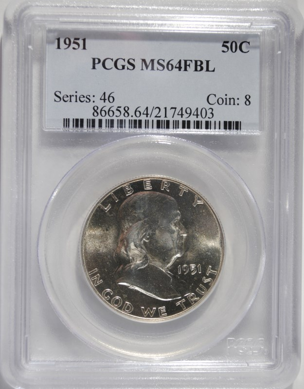 1951 FRANKLIN HALF DOLLAR, PCGS MS-64 FBL