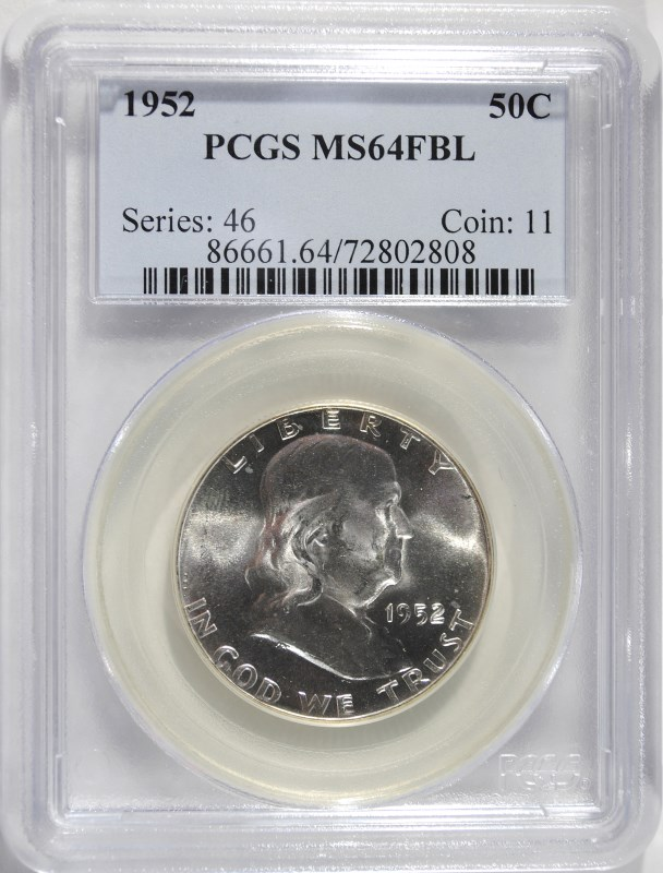 1952 FRANKLIN HALF DOLLAR, PCGS MS-64 FBL