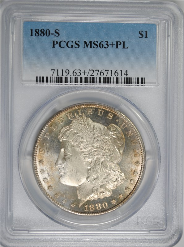 1880-S MORGAN SILVER DOLLAR, PCGS MS-63+ PL