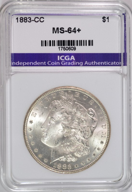 1883-CC MORGAN SILVER DOLLAR,ICGA  CHOICE+/GEM BU