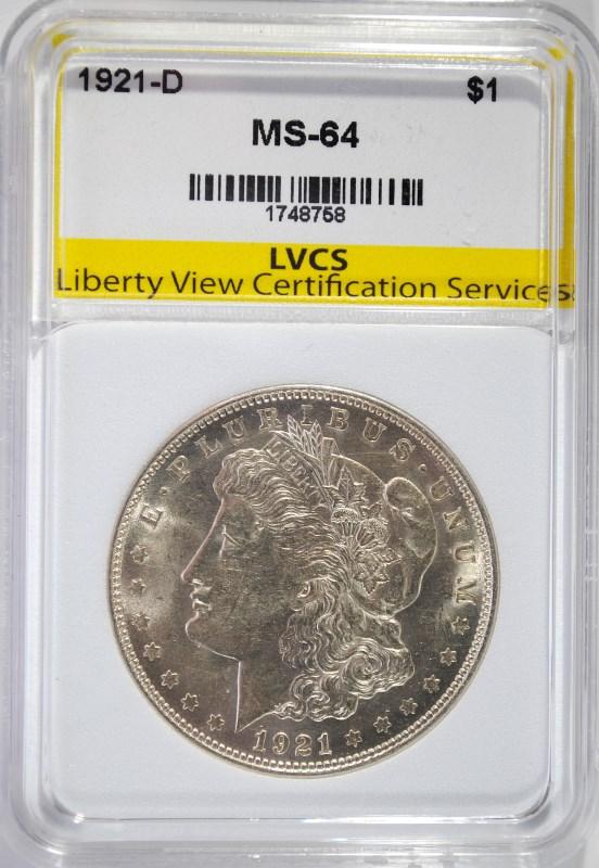 1921-D MORGAN SILVER DOLLAR LVCS CH/GEM BU
