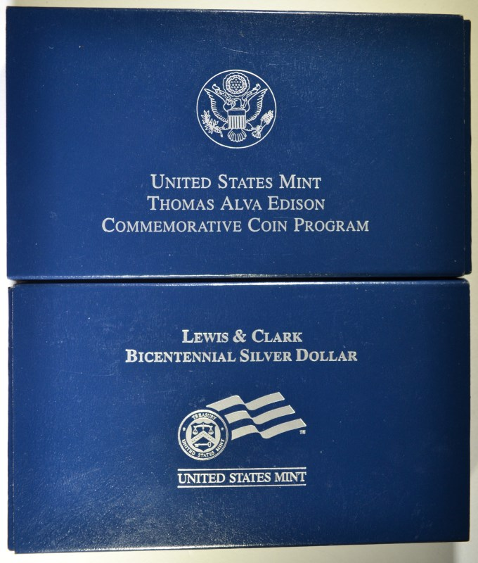 2 - 2004 COMMEMORATIVE SETS; THOMAS EDISON PRF $1 & LEWIS/CLARK PRF $1