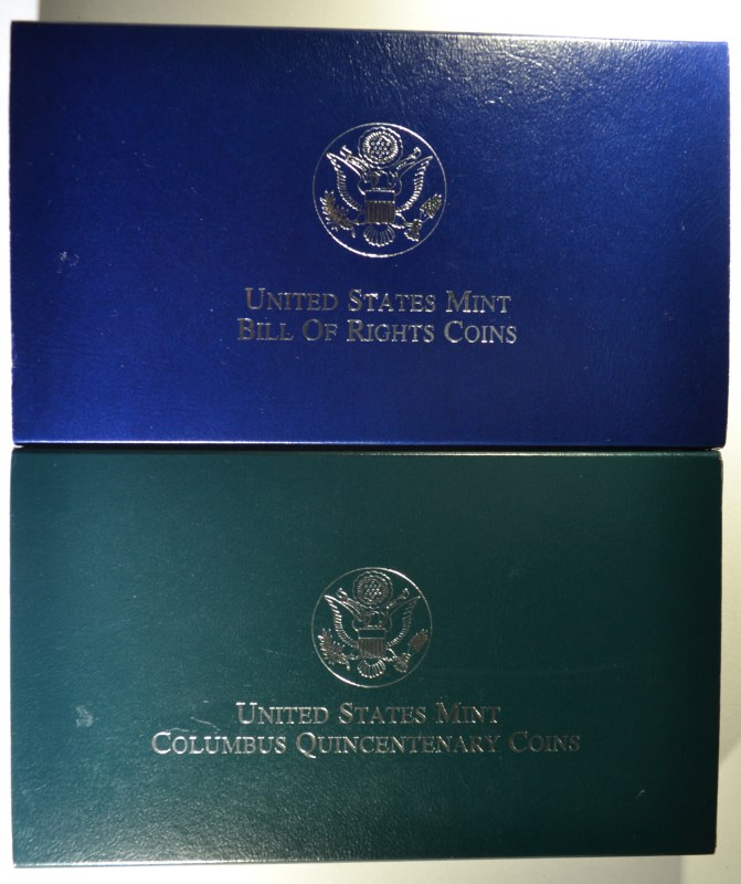 2 - PROOF 2pc COMMEM SETS; 1992 COLUMBUS QUINCENTENARY & 1993 BILL of RIGHTS