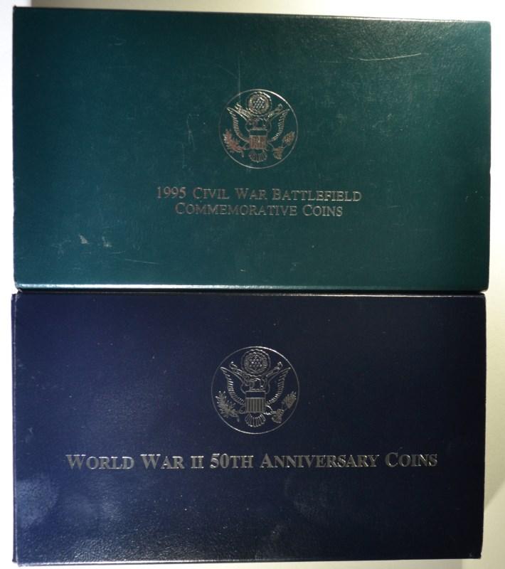 2 - PROOF 2pc COMMEM SETS; 1991/95 WORLD WAR II 50th ANNIV SET & 1995 CIVIL WAR