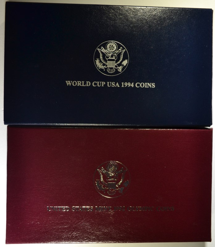 2 - 2pc COMMEM SETS; 1994 WORLD CUP PROOF & 1992 OLYMPIC UNC No Sleeve