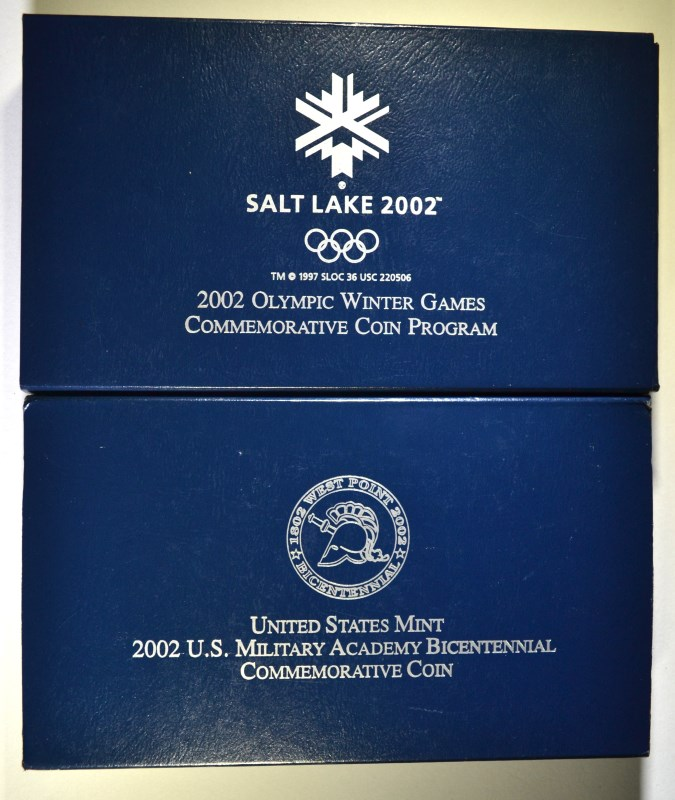 2 - 2002 COMMEMORATIVE SILVER DOLLARS; OLYMPIC WINTER GAMES & WEST POINT