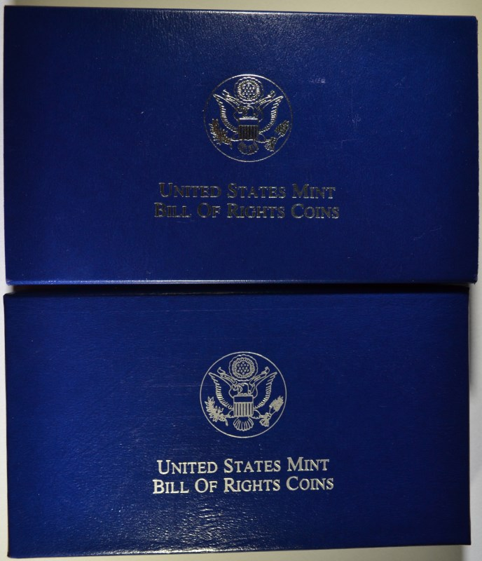 2 - 1993 BILL of RIGHTS COMMEM SETS - PROOF & UNC