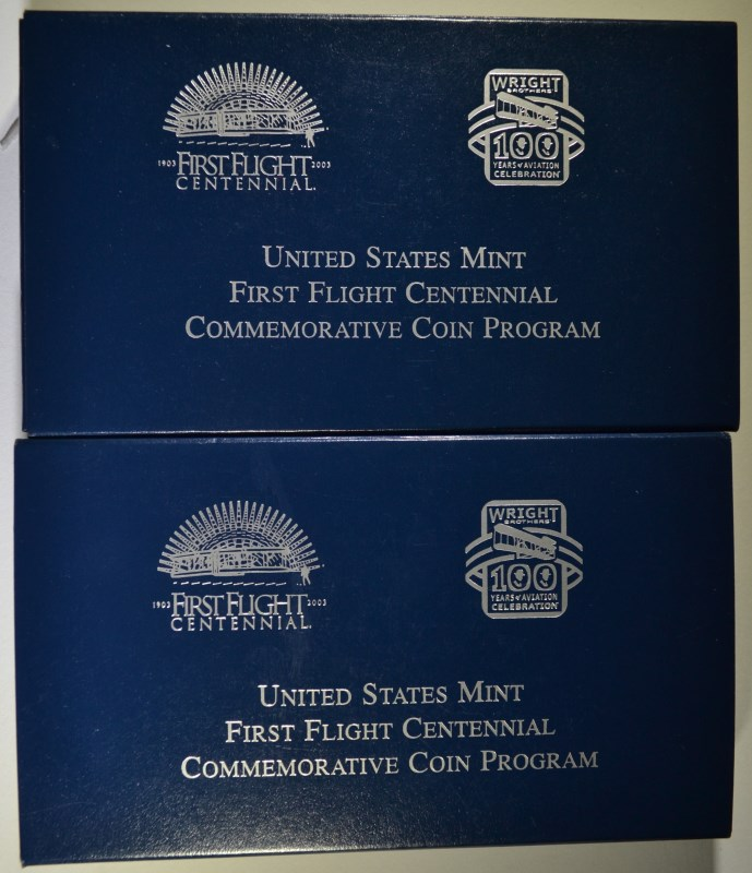 2 - 2003 FIRST FLIGHT CENTENNIAL COMMEMS - SILVER PROOF DOLLAR & CLAD PROOF HALF