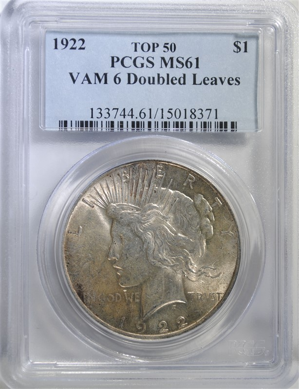 1922 PEACE SILVER DOLLAR VAM-6 ( DOUBLED LEAVES ) PCGS MS-61 TOP-50