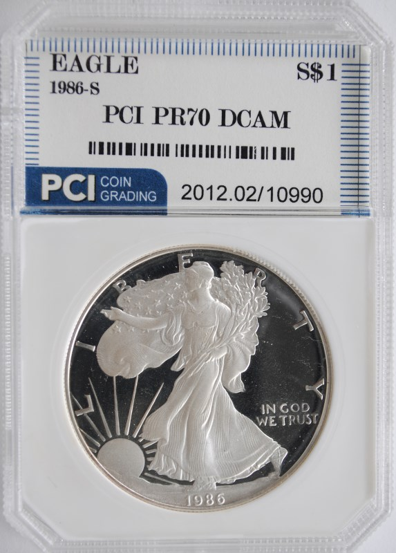 1986-S AMERICAN SILVER EAGLE PCI GRADED PERFECT PROOF DCAM
