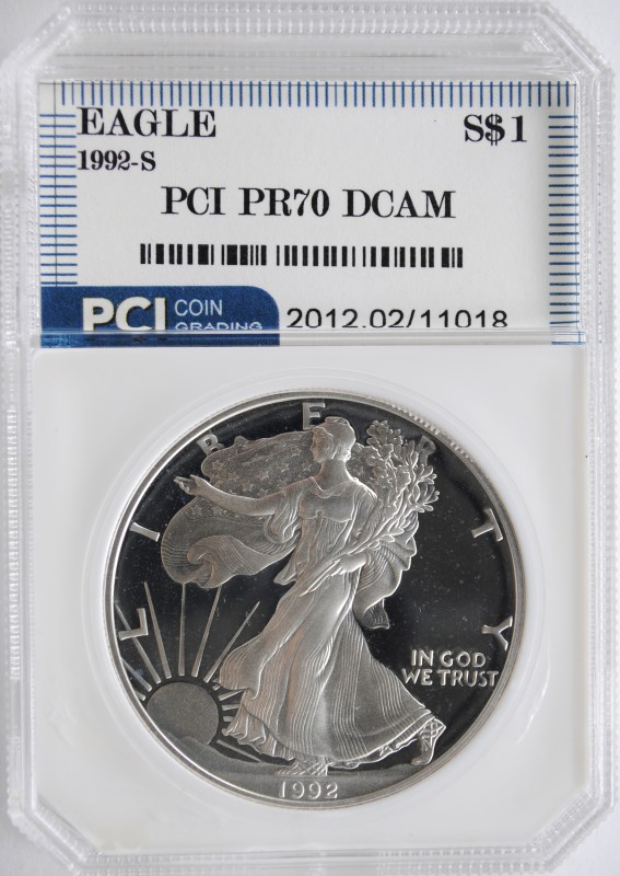 1992-S AMERICAN SILVER EAGLE PCI GRADED PERFECT PROOF DCAM