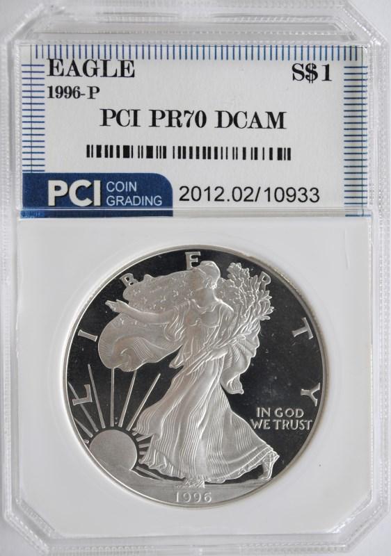 1996-P AMERICAN SILVER EAGLE PCI GRADED PERFECT PROOF DCAM