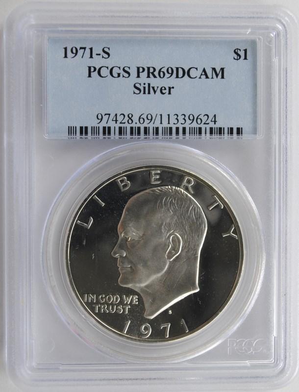 1971-S SILVER EISENHOWER DOLLAR, PCGS PR-69 DCAM