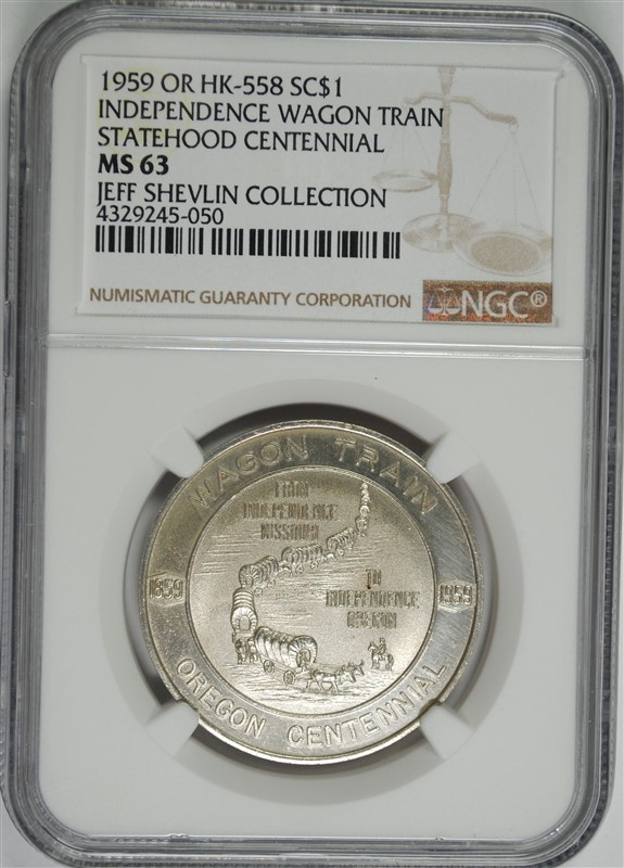 1959 OR HK-558 SO CALLED DOLLAR, INDEPENDENCE WAGON TRAIL, NGC MS-63