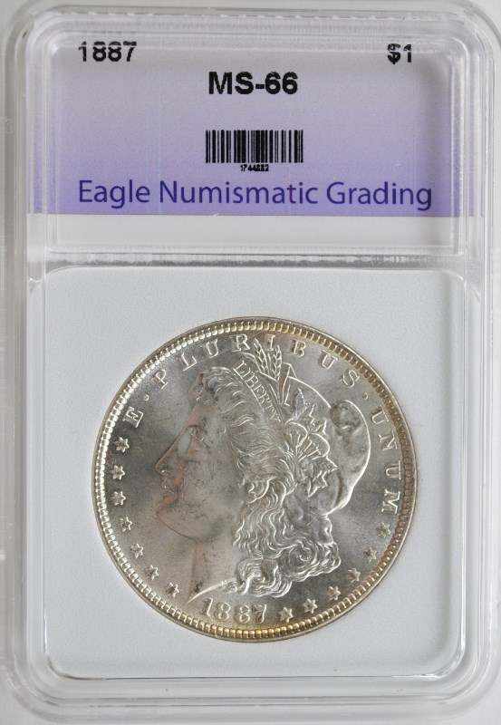 1887 MORGAN SILVER DOLLAR ENG SUPERB GEM