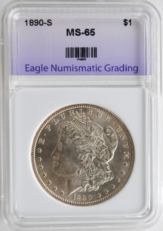 1890-S MORGAN SILVER DOLLAR ENG GEM UNC