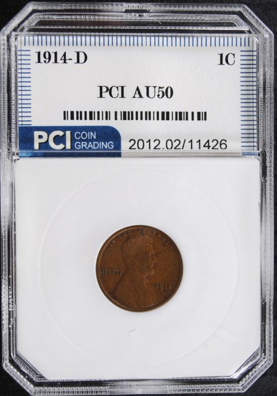1914-D LINCOLN WHEAT CENT PCI AU KEY DATE!
