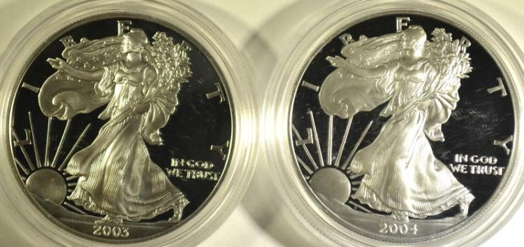 2003 & 2004 PROOF AMERICAN SILVER EAGLES WITH ORIGINAL BOXES/COA