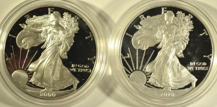 2000 & 2010 PROOF AMERICAN SILVER EAGLES WITH ORIGINAL BOXES/COA