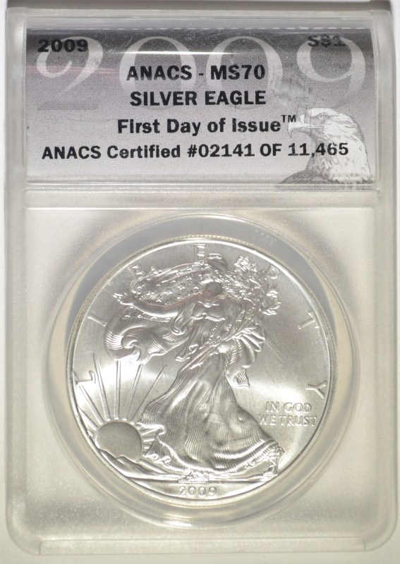 2009 AMERICAN SILVER EAGLE ANACS MS70 FIRST DAY of ISSUE - #02141 of 11,465