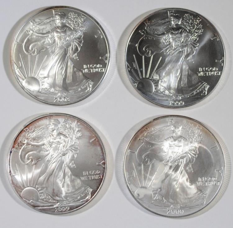 4 - BU SILVER AMERICAN SILVER EAGLES - 1999, 2000, 2003, 209
