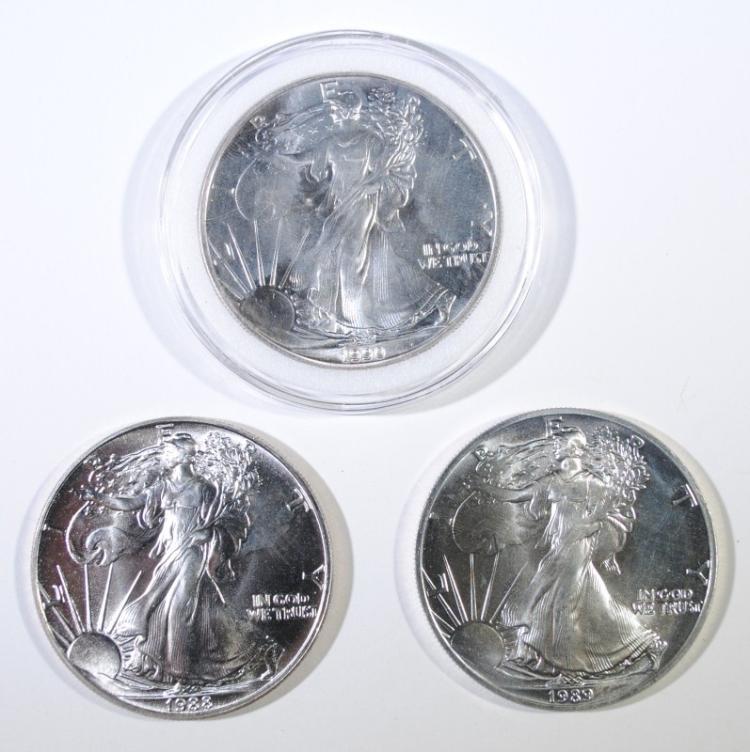 3 - GEM BU SILVER AMERICAN SILVER EAGLES - 1988, 1989, 1990