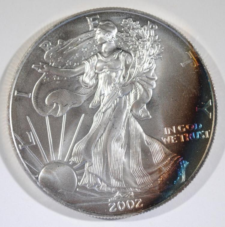 2002 AMERICAN SILVER EAGLE  RAINBOW COLORS  GORGEOUS!