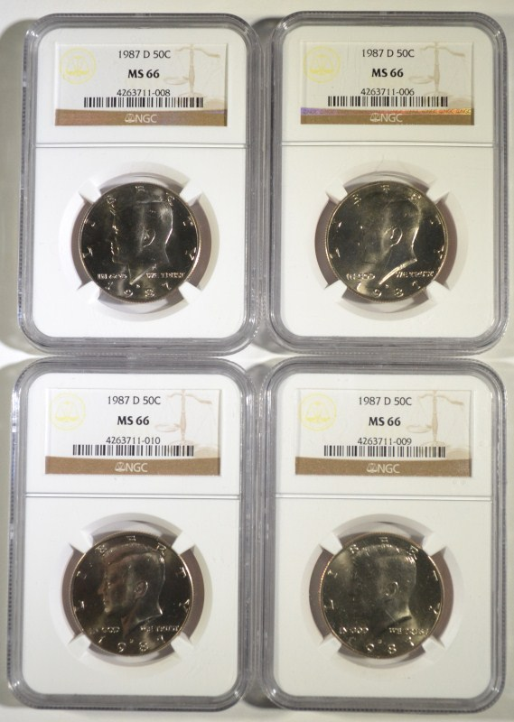 4 1987-D KENNEDY HALVES NGC MS-66