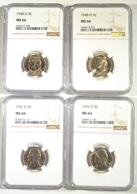 2 1948-D, 2 52-D JEFFERSON NICKELS NGC MS-66