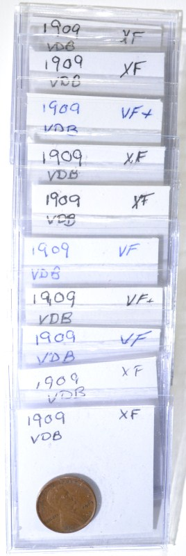 10 1909 VDB LINCOLN CENTS VF-XF