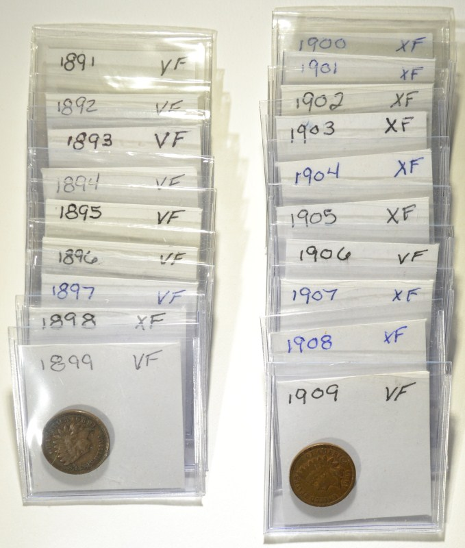 19 LATE DATE INDIAN CENTS VF-XF. MIXED DATES