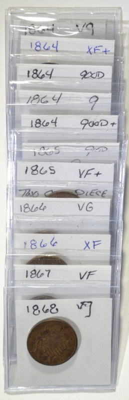 12 2 CENT PIECES MOSTLY G-VG SOME VF/XF