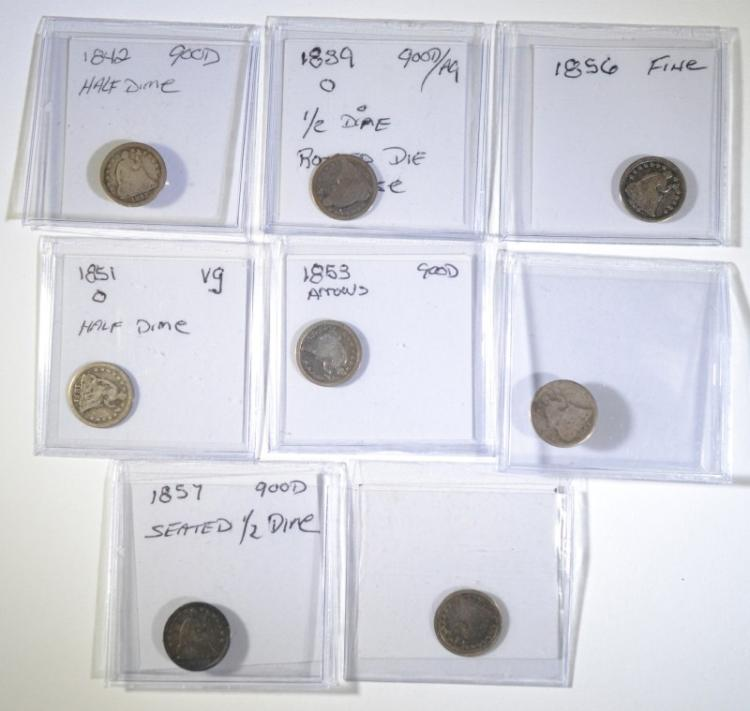 7 SEATED LIBERTY HALF DIMES MIXED DATES G-VG SOME PROBLEMS