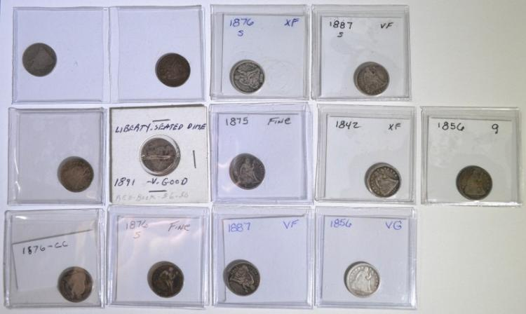 13 SEATED LIBERTY DIMES MIXED DATES AG-VF SOME PROBLEMS