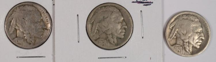 3 - BUFFALO NICKELS; 1915-S VG Struck Thru, 1916-D AG, 1917-D FINE