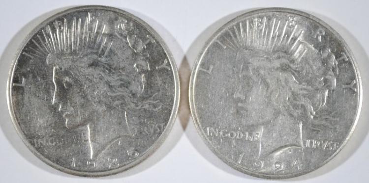 1925-S PEACE DOLLAR AU & 1924-S PEACE DOLLAR AU