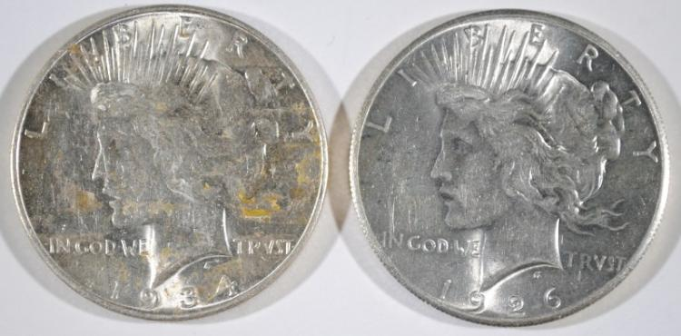 1934-D PEACE DOLLAR AU & 1926 PEACE DOLLAR GEM BU