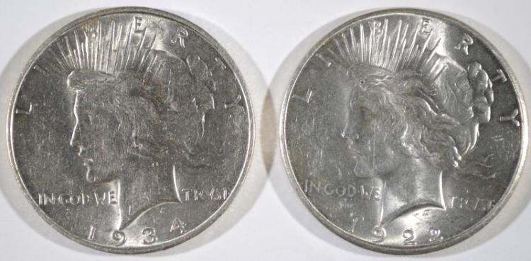 1922-S PEACE DOLLAR GEM BU & 1934-D PEACE DOLLAR AU