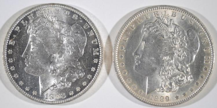 1883-O & 1889 MORGAN SILVER DOLLARS- CHOICE BU's