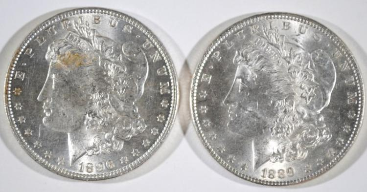 1896 & 1889 MORGAN SILVER DOLLARS - CHOICE BU's
